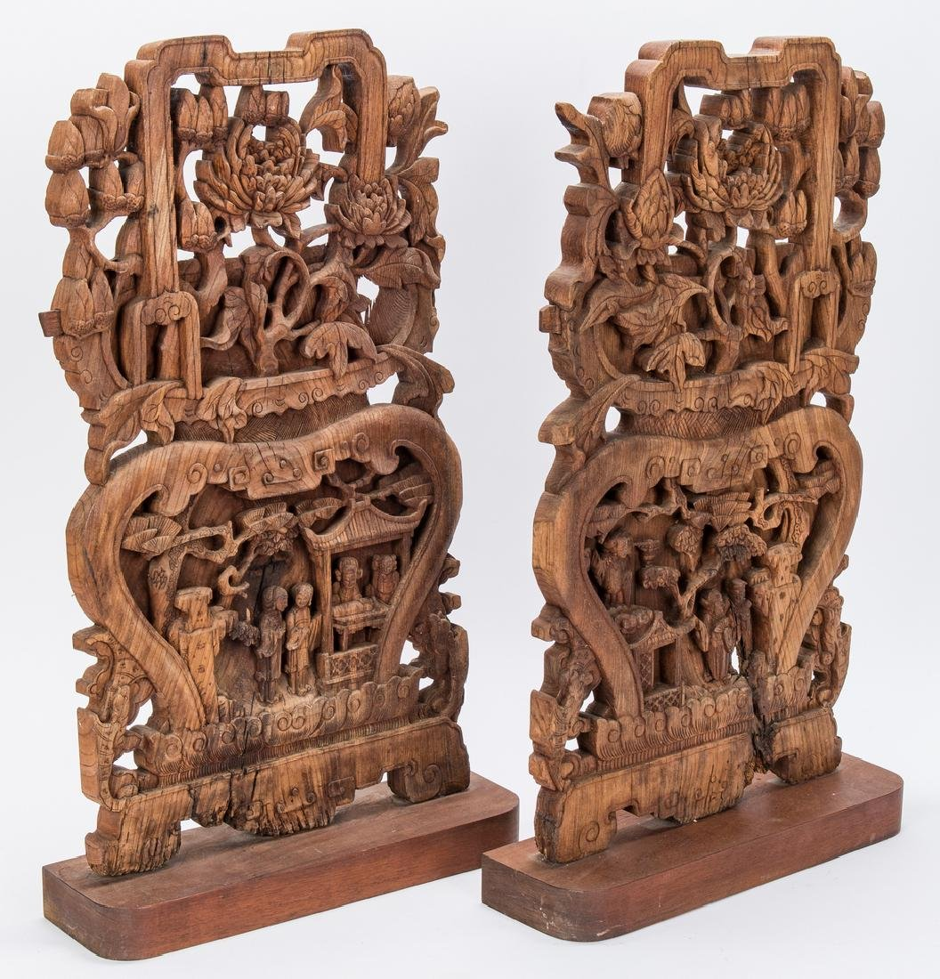 5 Asian Items, Bronze Religious Figurals, Chinese Wood - 4