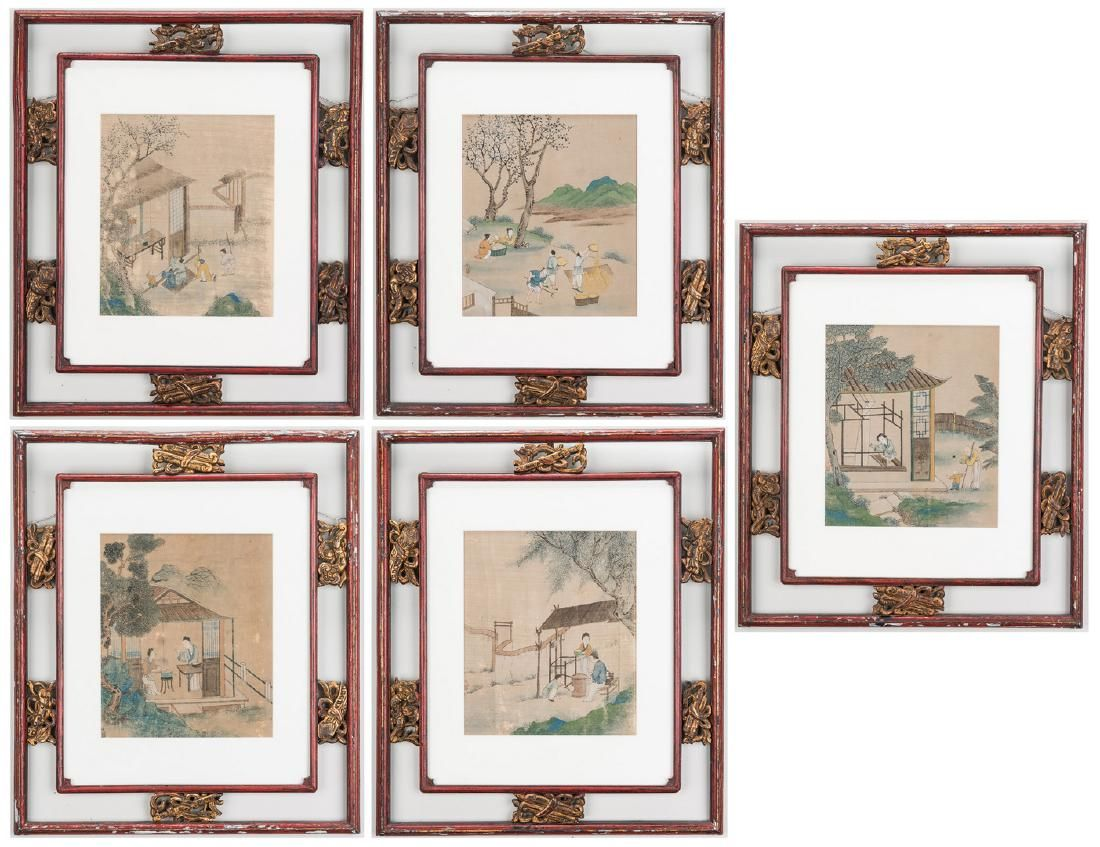 5 Qing Painted Landscapes on silk