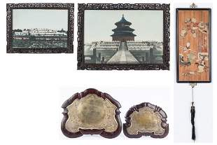 2 Framed Chinese Photos, 1 Hardstone Plaque & 2