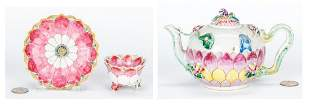 Chinese Famille Rose Export Lotus Cup,  Saucer & Tea