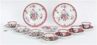 17 Famille Rose cups, saucers, pink borders