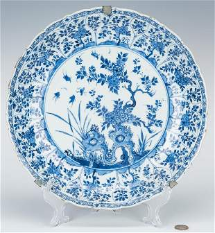 Large Blue & White Charger, Qing Dynasty