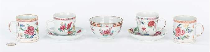 7 Famille Rose Porcelain Tea Cups, Saucers