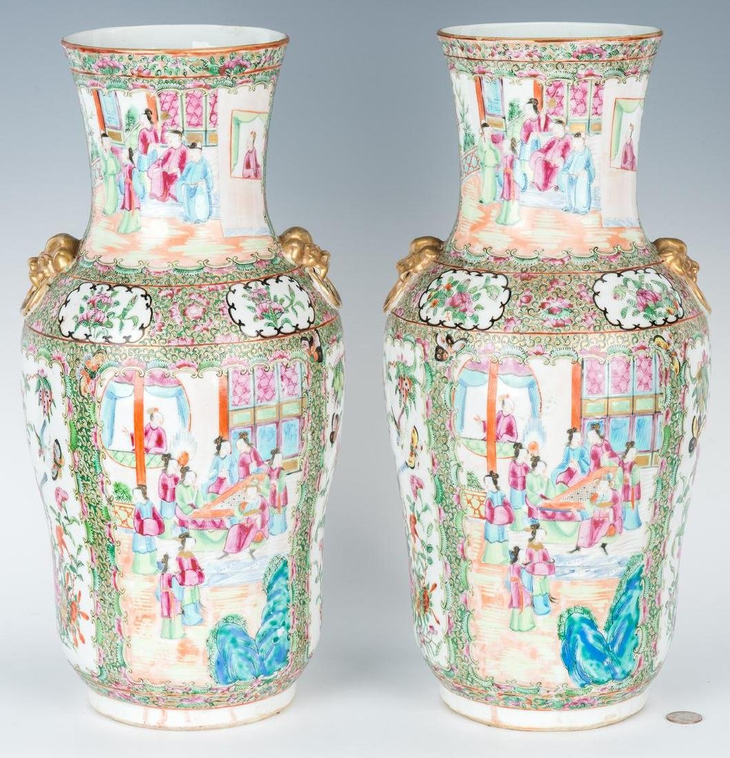 Pr Chinese Export Rose Medallion Vases