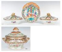 4 Famille Rose Serving pieces incl Tureen