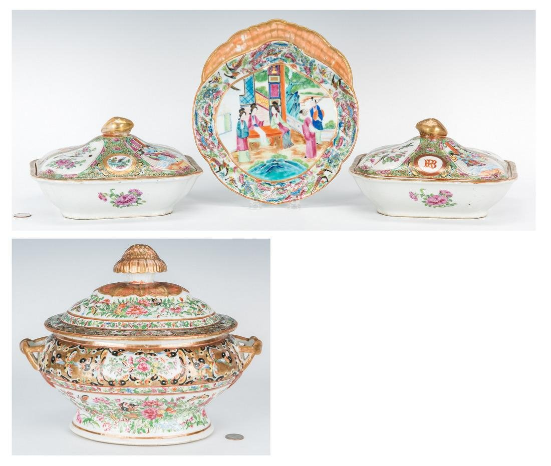 4 Famille Rose Serving pieces incl. Tureen