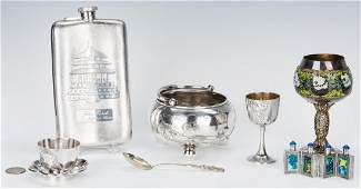 7 pcs Asian Silver inc Sugar bowl Enameled Snuff