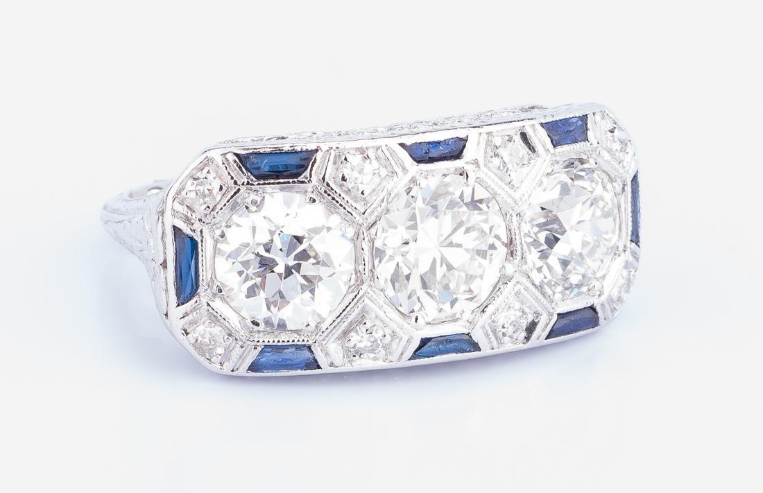 Art Deco Diamond Sapphire 3-stone Ring
