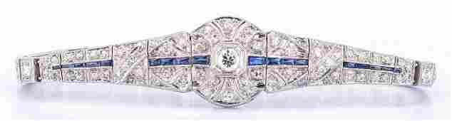 Art Deco Platinum Diamond Sapphire Bracelet
