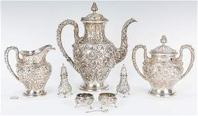 3 Pc Kirk Repousse Silver Tea Set  more