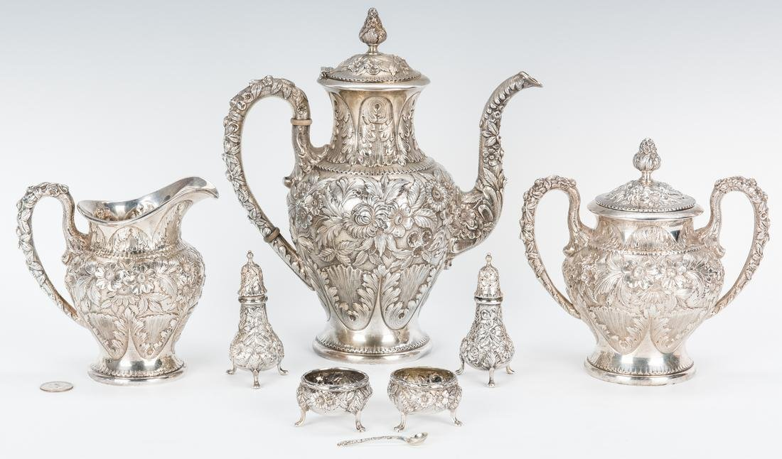 3 Pc. Kirk Repousse Silver Tea Set & more