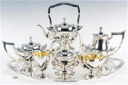 Gorham 7 pc Tea Set w Sterling Tray Plymouth Pattern