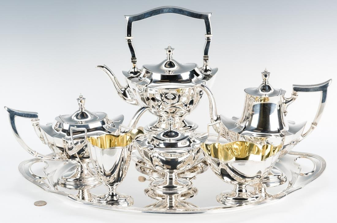 Gorham 7 pc Tea Set w/ Sterling Tray, Plymouth Pattern