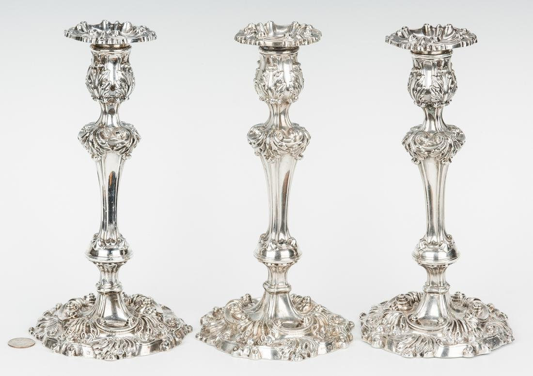 3 English Sterling Silver Candlesticks