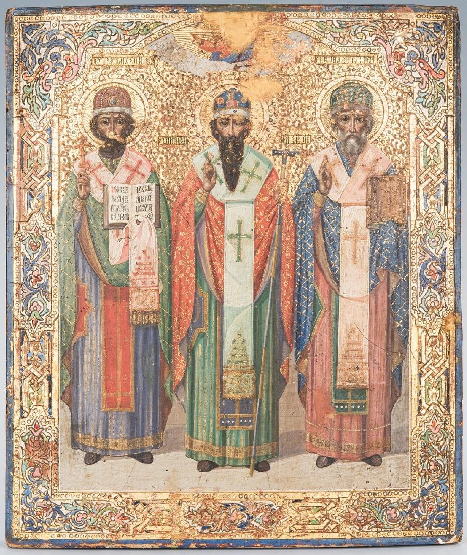 19th Century Russian Icon with 3 Saints