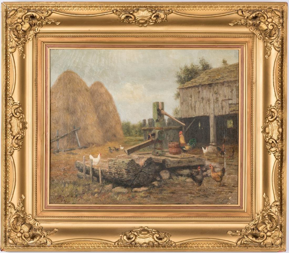 Burr Nicholls O/C, Barnyard Scene