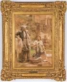 "Leon L'Hermitte Pastel, ""The Washer Women"""