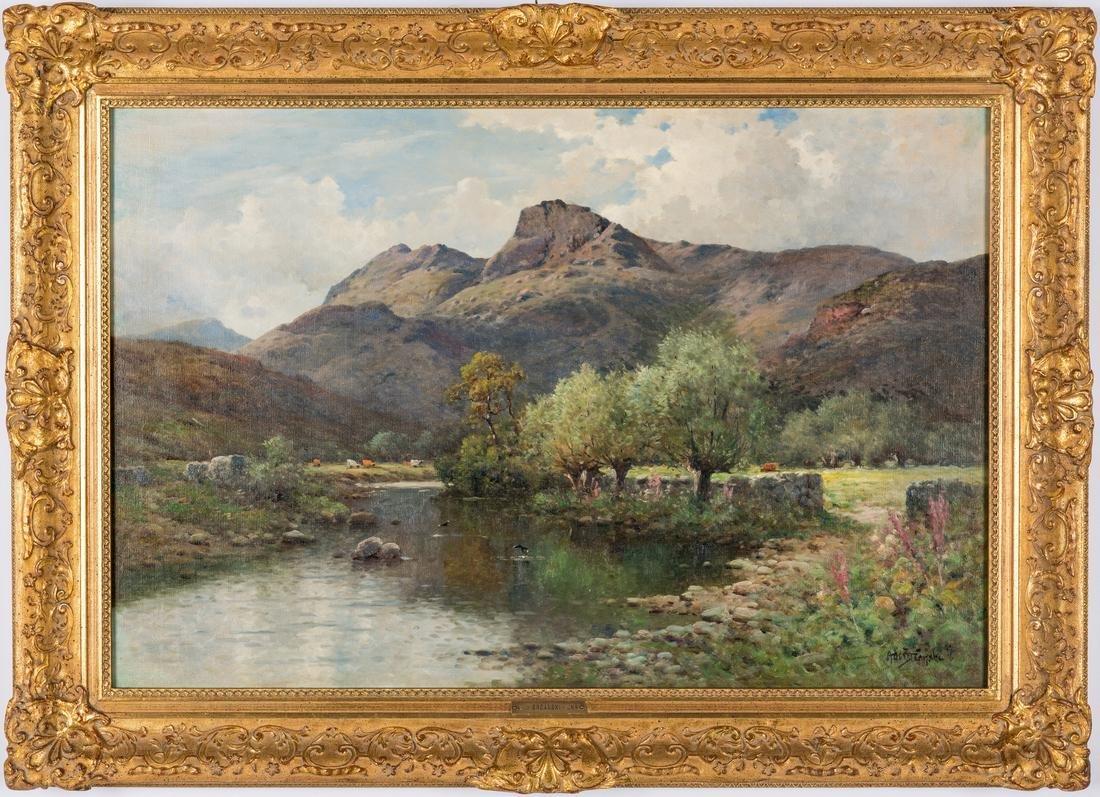 English O/C Spring Landscape, A. De Breanski, Jr.