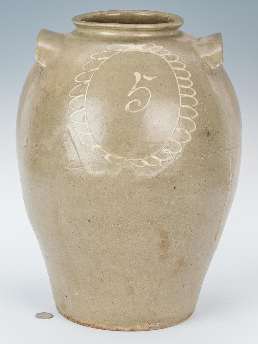 SC Edgefield Pottery Jug w/ Slip Flower Design
