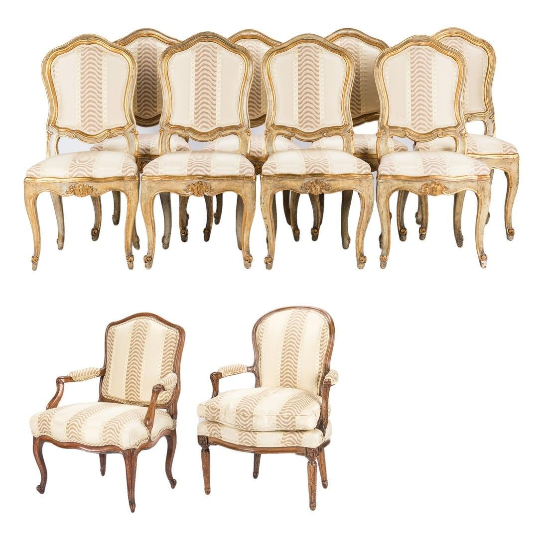 8 Continental Dining Chairs; 2 Armchairs