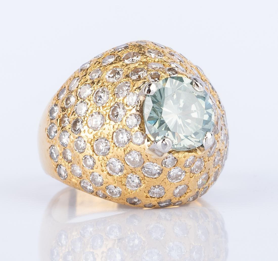 21k Diamond Dinner Ring w/ treated fancy diamond