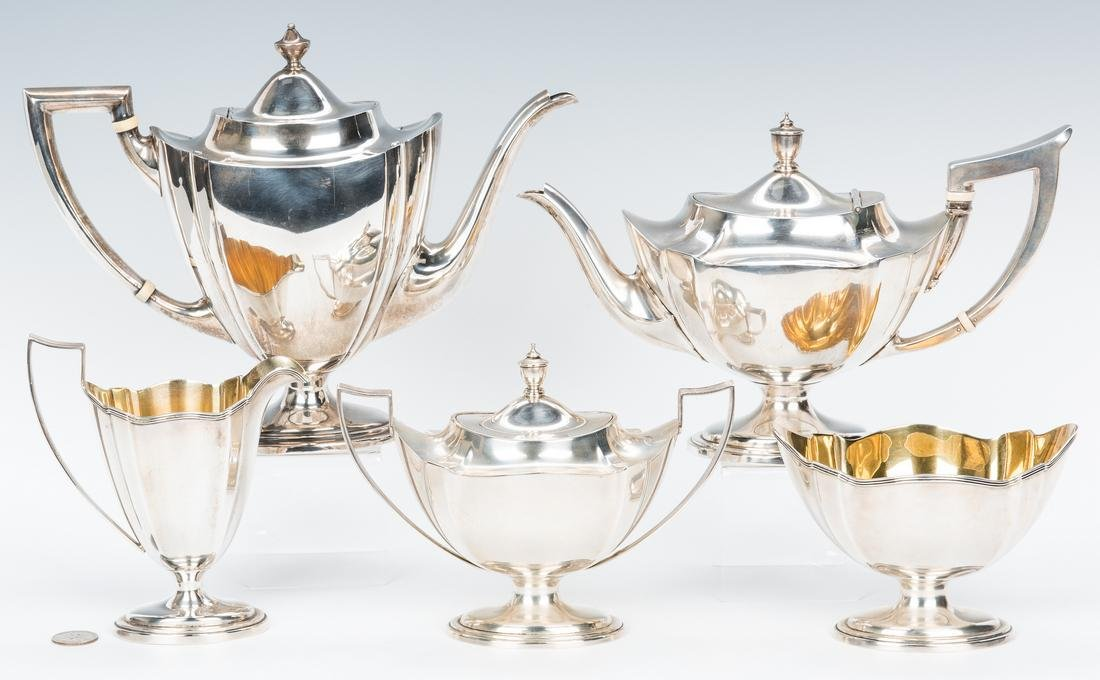 4-Piece Gorham Plymouth Tea Set, Jennings Coffee Pot, 5