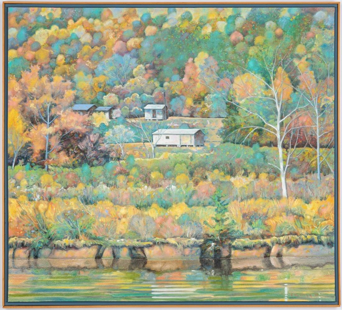 Edward Kellogg Oil Painting, River Houses