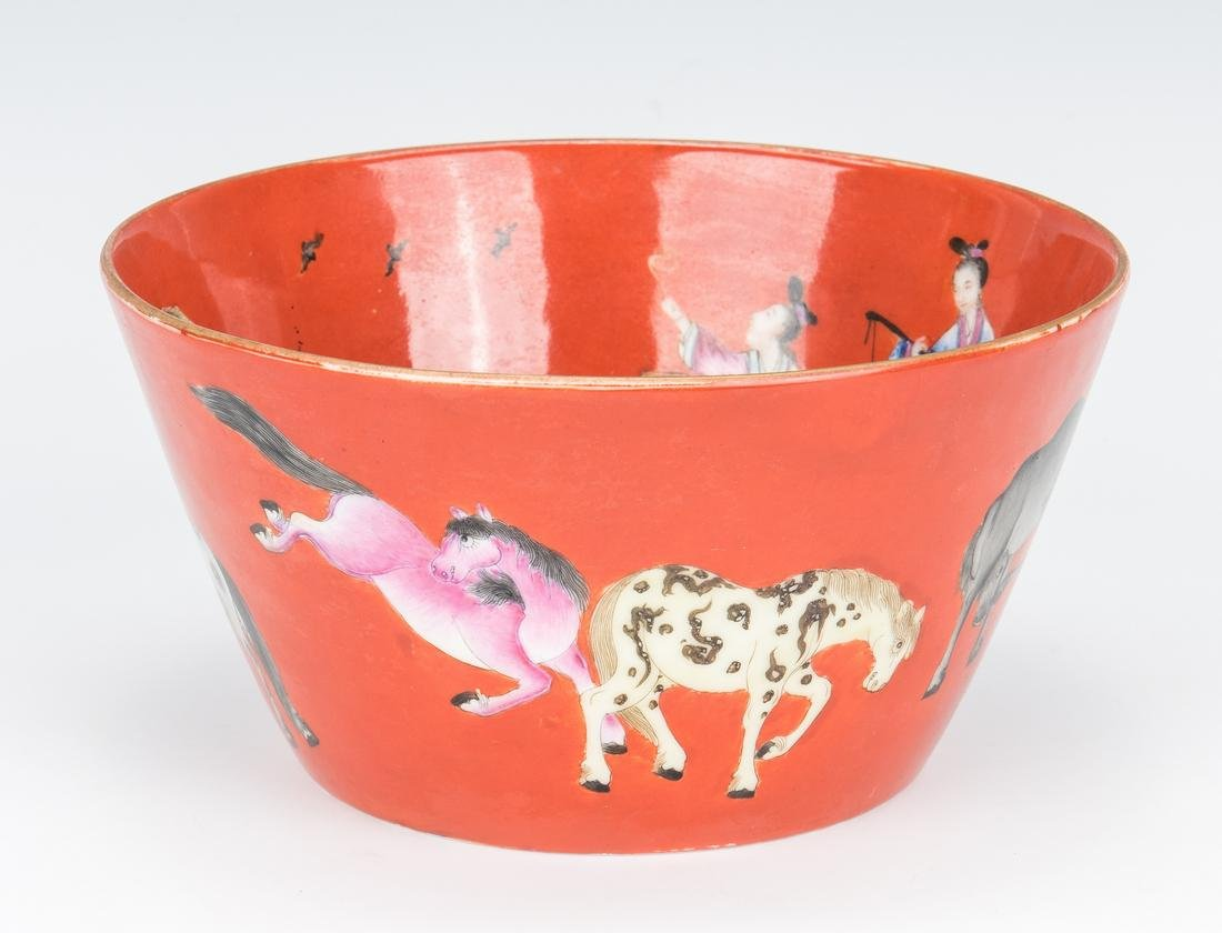 Chinese Porcelain Bowl, Red Ground with Figural