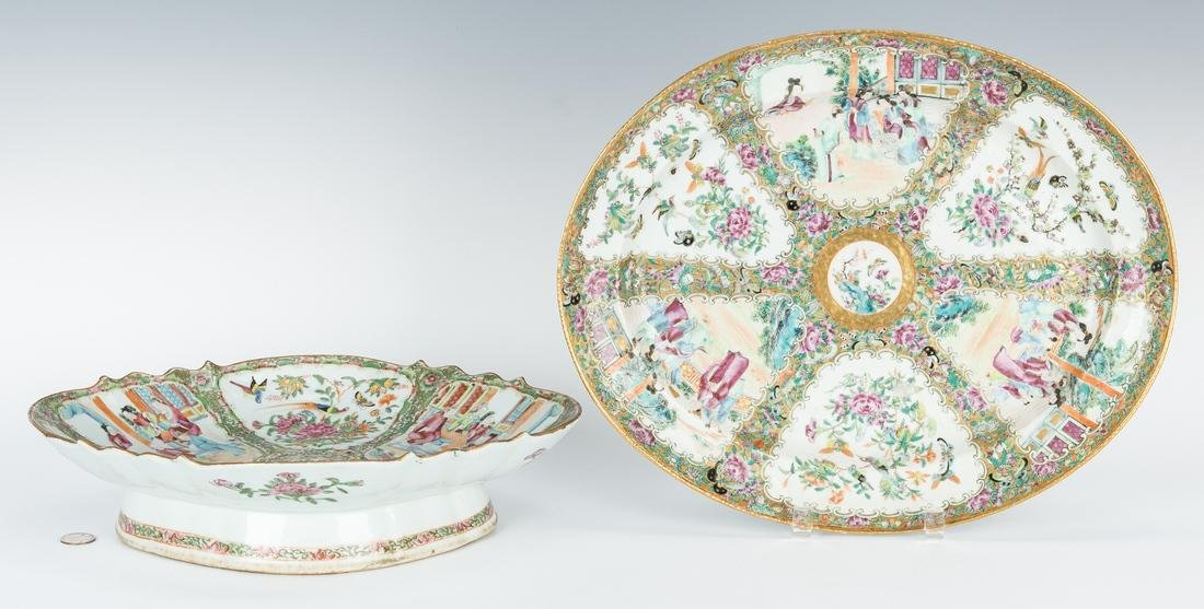 Rose Medallion Platter and Compote