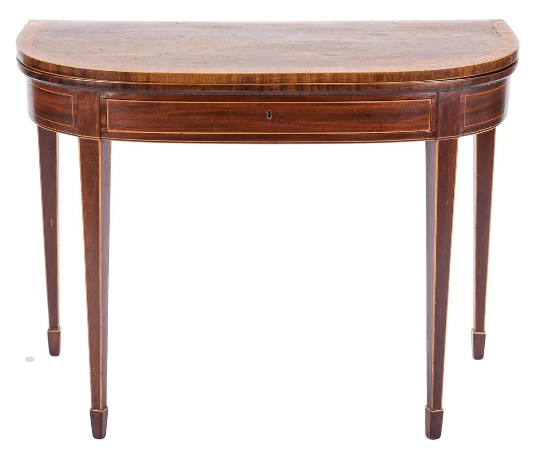 George III Inlaid Demilune Games Table