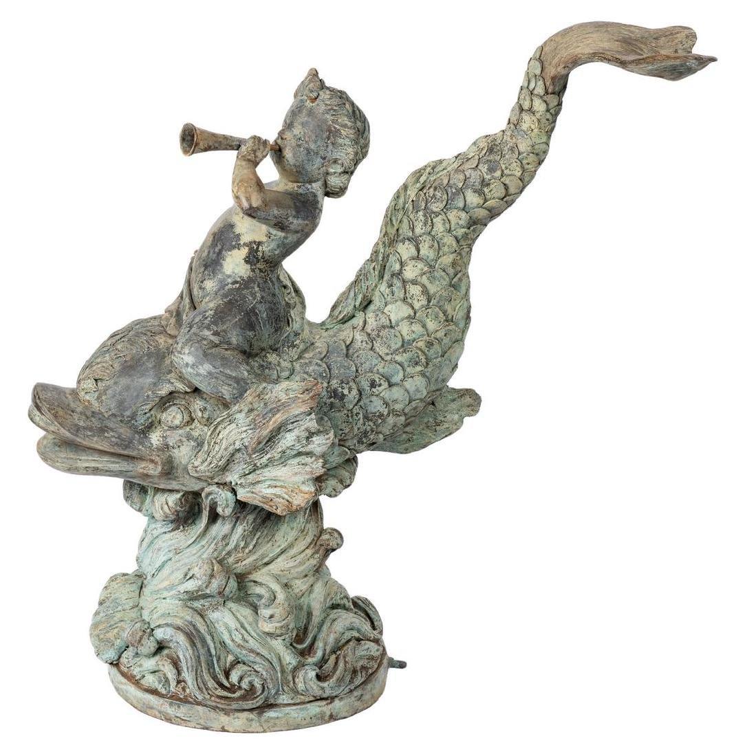 Figural Cherub & Fish Garden Fountain