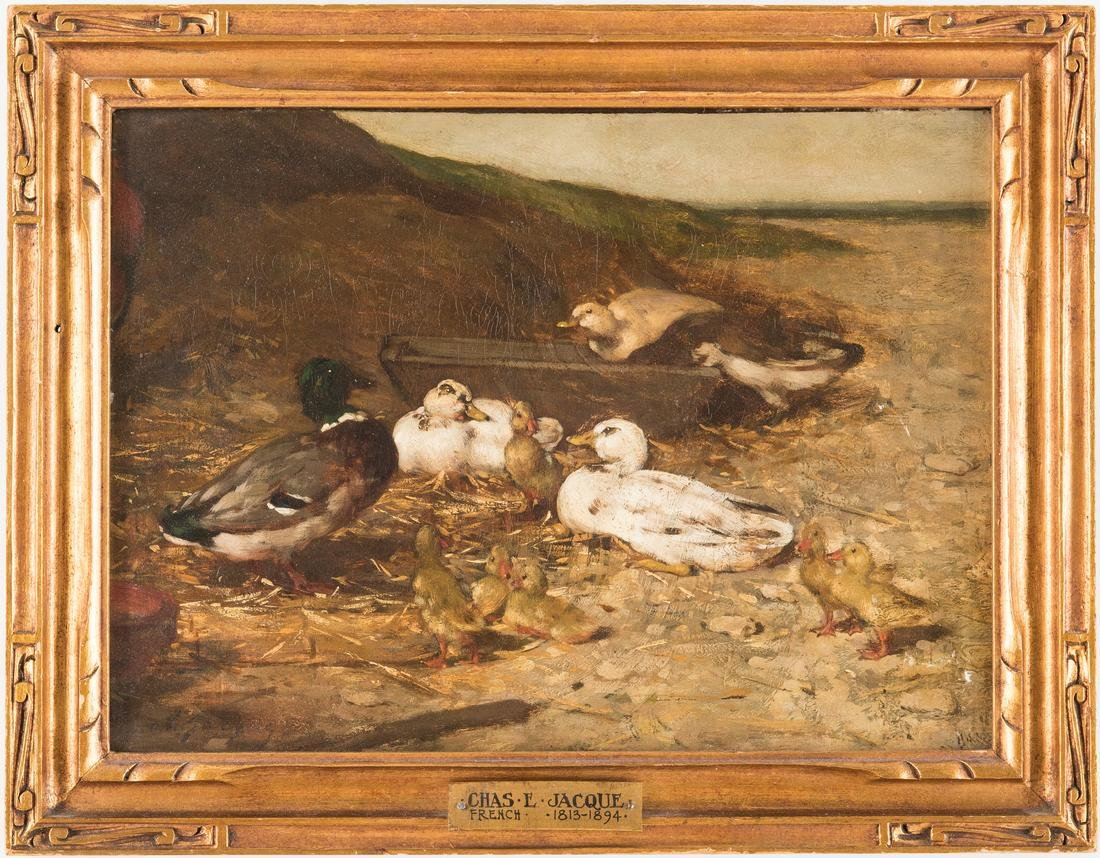 Charles E. Jacque O/C, Ducks on a Seashore
