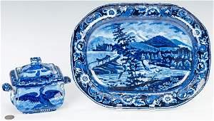 2 Historical Staffordshire Pieces, Sugar Bowl & Platter