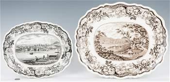 2 Historical Staffordshire Platters, Hudson River Views