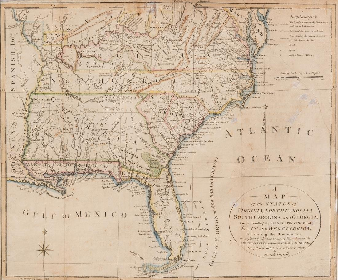 """18th c. Purcell  Map, """"State of Franklin"""""""