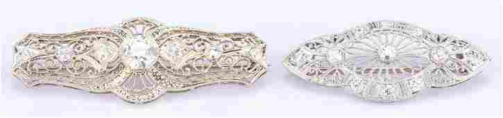 2 Edwardian Pins 1 w 150 ct OMC center diamond