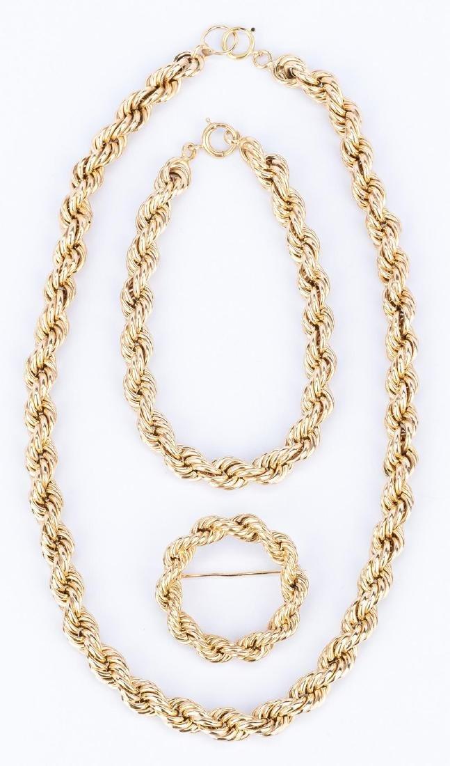 3 Piece Set 14k Rope Jewelry