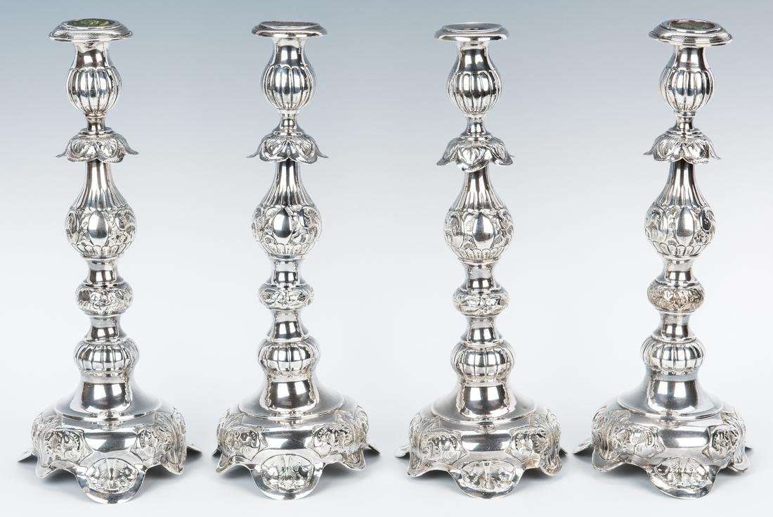4 Russian Baroque Style Silver Candlesticks