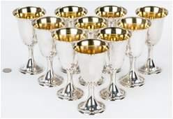 10 Alvin Sterling Silver Goblets