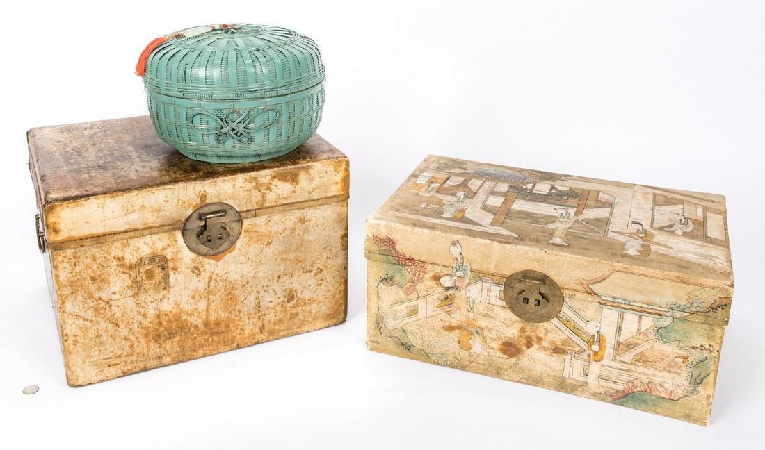 Chinese Storage Basket w/ White Jade & 2 Chinese Chests