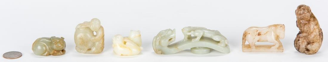 5 Chinese Jade Figurals & 1 Jade Belt Hook