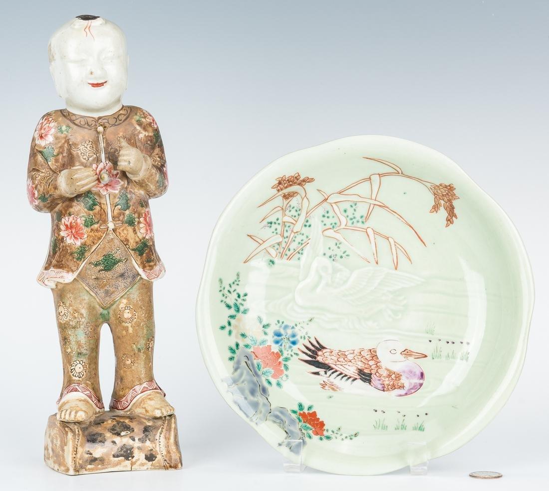 Japanese Satsuma Figure; Celadon Plate