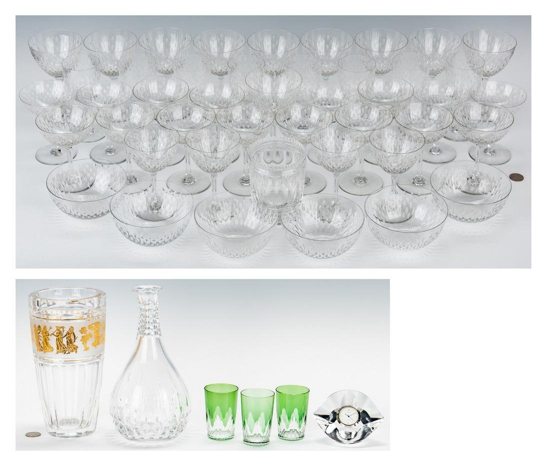 51 Crystal & Glass Items, incl. Baccarat, Val St.