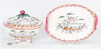 Faience Sauce Tureen and Underplate