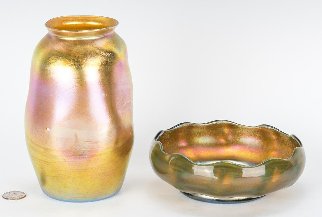 2 Tiffany Favrile Items, Vase and Bowl
