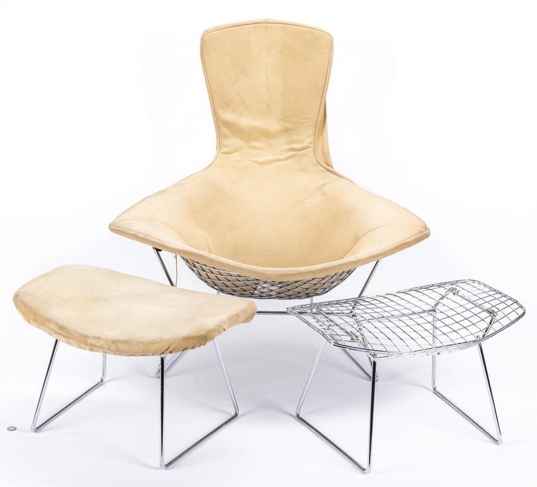 Mid-Century Knoll Diamond Chair & 2 Stools