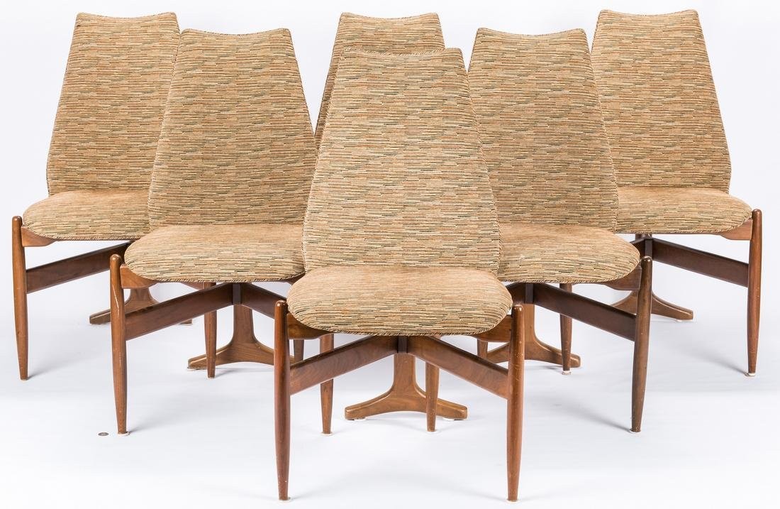 6 Mid Century Modern T Back Chairs