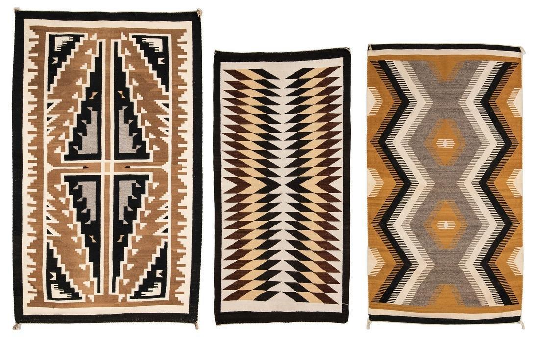 Large Navajo Blanket & 2 Navajo Rugs