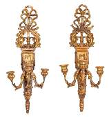 Pr. Italian Giltwood Carved Wall Sconces