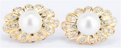 Pair of Trio 18K Pearl Diamond Shell Earrings